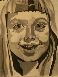 Esther. Blyerts och tusch på papper. 21 x 30 cm.