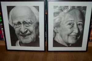 Farfar och farmor. Blyerts på papper. 30 x 42 cm.