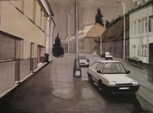 Stad. Akvarell på papper. 50 x 70 cm.