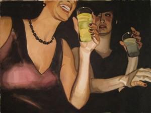 Hanna och Liz. Akvarell på papper. 70 x 50 cm.