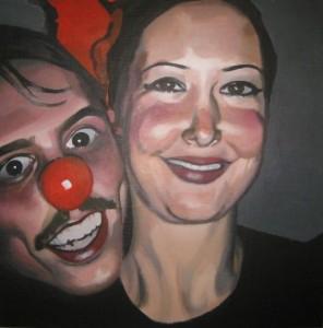 Anders och Hanna. Akryl på pannå. 50 x 50 cm.