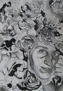 Blombasse. Blyerts och tusch på papper. 30 x 42 cm.