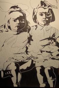 Farmors flickor. Tusch på papper. 30 x 42 cm.