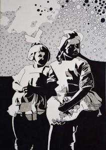 Farmors kusiner. Blyerts och tusch på papper. 30 x 42 cm.