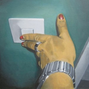 Handen. Akryl på pannå. 50 x 50 cm.
