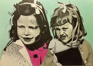 Kusinerna. Blyerts, akvarell och tusch på papper. 30 x 42 cm.