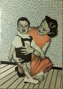 Pappa och farmor. Blyerts, akvarell och tusch på papper. 30 x 42 cm.