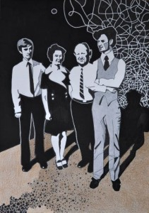 Pappas familj. Blyerts, akvarell och tusch på papper. 30 x 42 cm.