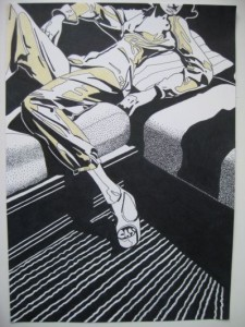 Soffan. Tusch och akvarell på papper. 30 x 42 cm.