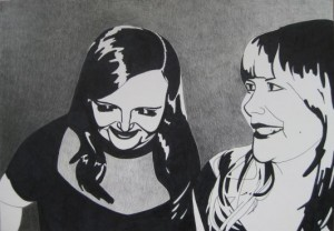 Systrarna Karlsson. Blyerts och tusch på papper. 30 x 42 cm.
