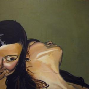 Terez och Liz. Akryl på pannå. 50 x 50 cm.