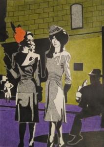 Två flickor. Tusch och akvarell på papper. 30 x 42 cm.