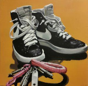 Walking in my shoes. Akryl på MDF. 50 x 50 cm.